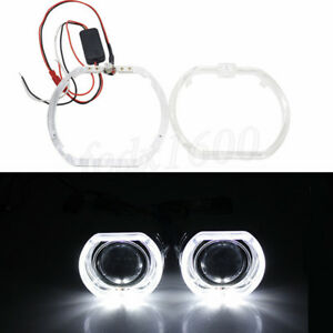 "2x 2.5"" Square Angel Eyes LED Day Running Light White DRL for Car Head Projector"