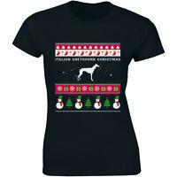 Italian Greyhound Christmas Shirt - Xmas Holiday Women T-shirt Tee Ugly Sweater