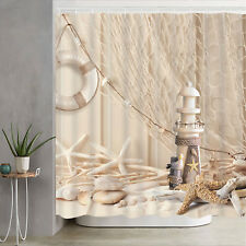 Waterproof Fabric Hooks Bathroom Shower Curtain Starfish Beach Fishing Net Decor