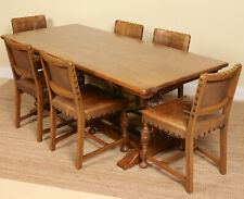Antique Oak Dining Table And 6 Chairs Leather Refectory Plank Country Arts Craft