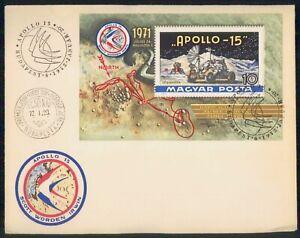 MayfairStamps Hungary 1972 Apollo 15 Souvenir Sheet Space Cover wwm47179