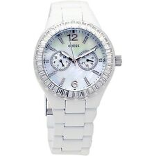 NEW GUESS WHITE S/STEEL BAND,CRYSTAL,WHITE MOTHER OF PEARL DIAL WATCH G13552L