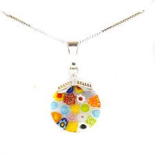 Murano Glass Necklace Pendant Multi Coloured Sterling Silver Millefiori Venice