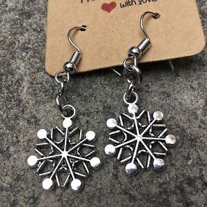 Handmade Snowflake Earrings Christmas Stocking Filler Gift MTO6