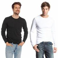 MENS 2 PACK LONG SLEEVE BASIC TOP 100% COTTON SWEATSHIRT JERSEY S-2XL