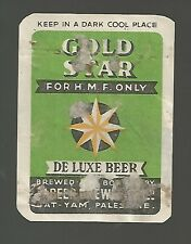 GOLDSTAR   BEER: a rare beer label , bat - yam  brewery, palestine 40's