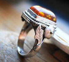 Ringe mit Edelsteinen aus Sterlingsilber echten 56 (7 mm Ø) Bernstein