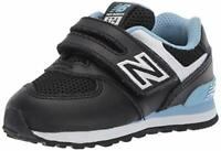 New Balance Kids' 574 V1 Leather Hook and Loop, Black/Summer Sky, Size 7.5 gTqt