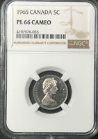 1965 Canada Silver PL 66 Cameo Graded NGC