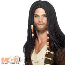 9f4bf5ed52dd Black Pirate Perruque Déguisement Caraïbes dreaklocks Adultes Costume  Accessoire
