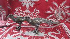 2 petits faisans ou paons decors de table 1960 en metal argenté