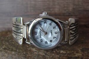 Native American Indian Jewelry Sterling Silver Lady's Watch - B. Morgan