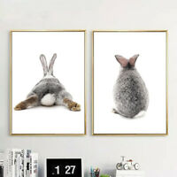 FJ- NORDIC GRAY RABBIT BACK POSTER WALL ART PAINTING PICTURE HOME DECOR STUNNING