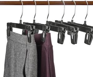 Titan Mall Pants Hangers 30 Pack 10 Inch Black Plastic Skirt Hanger with Non-Sli
