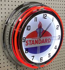 """18"""" STANDARD OIL Torch Sign Double Neon Clock"""