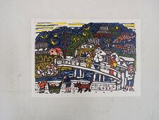 River, temple,Kadowaki Shunichi:Japanese print original Sosaku hanga 1971,22