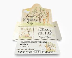 Beautiful Giraffe Themed Personalised Invitations, Birthday Envitations Pack 10