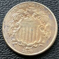 1870 Shield Nickel 5c High Grade AU Details #28836