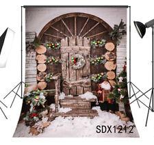 Vinyl Studio Backdrop Background 5x7FT Rustic Vintage Wood Door Snow Xmas Decor
