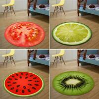 Round Carpet Fruit Pattern Floor Carpet Non Slip Comfy Rug Mat Home Decor N V0T4