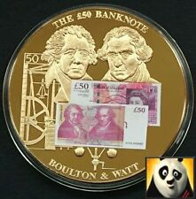 LARGE 50mm £50 FIFTY POUND BRITISH BANKNOTE STICKER MEDAL COIN BOULTON & WATT