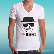 "T-SHIRT BIANCA COLLO A V "" HEISENBERG FACCIA BREAKING BAD "" IDEA REGALO"