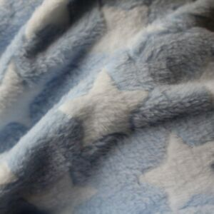 Blue White Stars Cuddle Fleece - Super Soft, Comfy Fabric Material - Per Metre