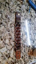 handmade leather metal link bracelet