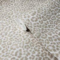 Wallpaper ivory off white gold metallic textured leopard cheetah animal skin fur