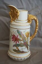 Royal Worcester #1366 Blush Ivory Gilded Head Open Mouth PITCHER 8 5/8""