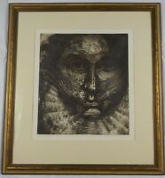 1968 Mid Century Modern Lithograph Head of State by Dennis P Sullivan Listed
