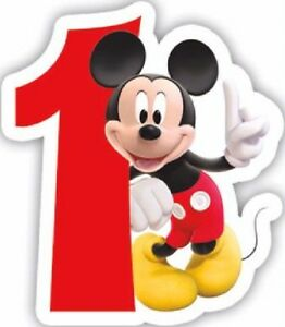 AGE 1 CANDLE DISNEY MICKEY MOUSE - BOY GIRL 1ST BIRTHDAY PARTY CAKE DECORATION