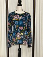 ANN TAYLOR LOFT M Women's Long Sleeve Floral Print Tunic Blouse Top Sheer Lined