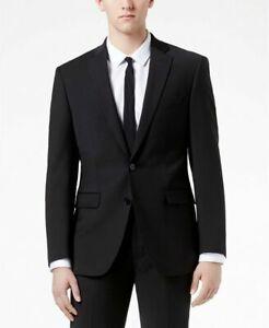 Calvin Klein Solid Wool Black Slim X Fit Suit Jacket 42L Wool