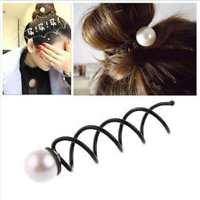 2X Girls Pearl Spiral Spin Screw Bobby Hair Pins Clips Twist Barrette Accessory