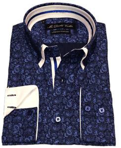 Mens Striking Blue Paisley Italian Shirt Smart Casual Double Collar Design