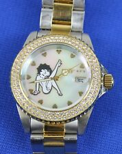 """Invicta 7 1/4"""" Womens Betty Boop Crystal Two-Tone Watch 24493 0151/3000"""