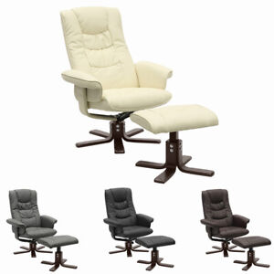 Adjustable Recliner Swivel Armchair Faux Leather Sofa Chair Lounger w/ Footstool