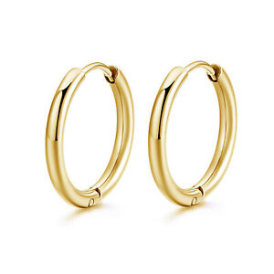 2PC Surgical Steel Huggie Hoop Sleeper Ring Earrings Lip Ear Nose Body Piercing