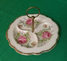 VINTAGE LEFTON DIVIDED CHINA DISH WITH HANDLE--hand painted
