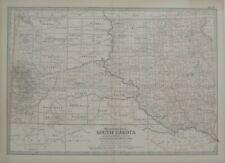 Original 1897 Map SOUTH DAKOTA Indian Reservations Rapid City Pierre Railroads