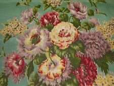 Antique Shabby Roses Floral Faille Satin Fabric ~ Dusty Green Lavender Yellow