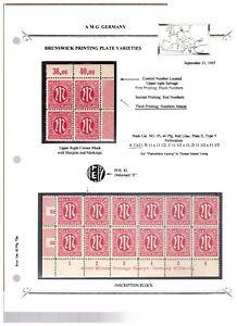 Germany AMG Allied Military Government Brunswick Printing - Varieties & Blocks