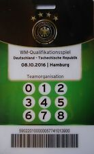 TICKET Pass Teamorganisation 8.10.2016 Deutschland - Tschechien
