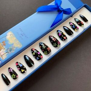 Painted False Nails Stiletto (or any shape) Neon Mickey Mouse & Stars. UK