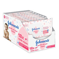 Johnson's Baby Gentle All Over Wipes, Pack of 18 Total 1008 Wipes