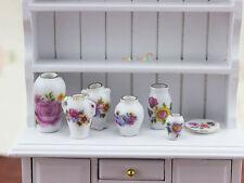 Dolls House Miniature 1:12 Porcelain china Flower Vase Pot Ceramic Dish set 7pc