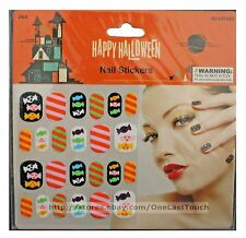 MOMENTUM BRANDS 24pc Nail Stickers CANDY Stripes+Pink+Orange HAPPY HALLOWEEN 6/9