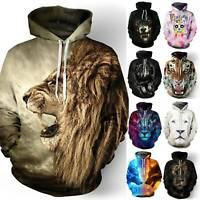 Women Men Hooded 3D Printed Wolf Sweatshirt Pullover Jumper Hoodie Unisex Tops