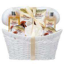 8 Piece Deluxe Tropical Coconut Body & Bath Gift Set Complete with Large Basket